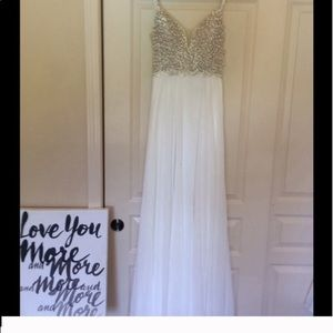 Lulu's Dresses - True Love White Beaded Rhinestone Maxi Dress